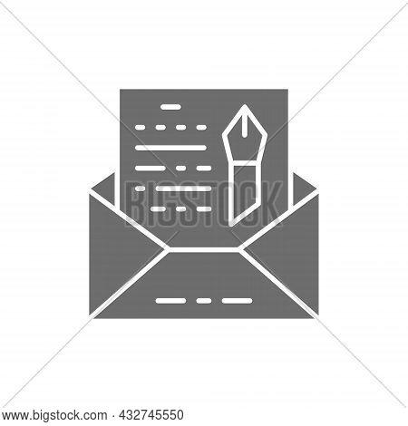 Vector Envelope, Novel, Freehand Letter Grey Icon.