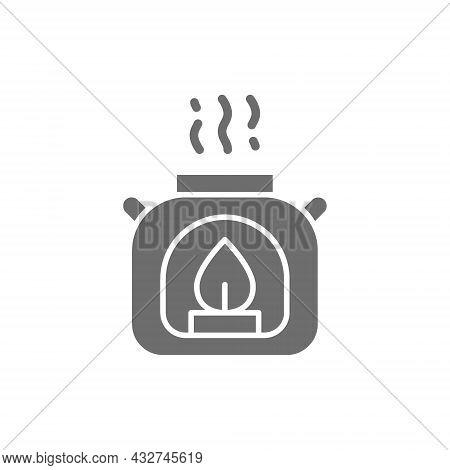 Vector Aroma Lamp, Gas Burner Grey Icon.