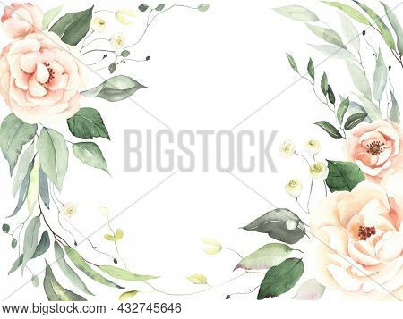 Foliage hand painted card, delicate blush roses and green leaves isolated on white background, floral border for wedding, wallpaper, invitation or greeting card. Watercolor nature frame.