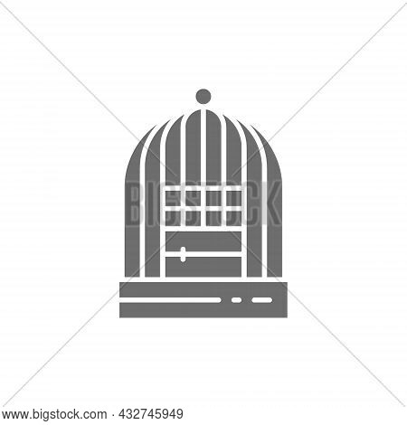 Cage For Birds Grey Icon. Isolated On White Background
