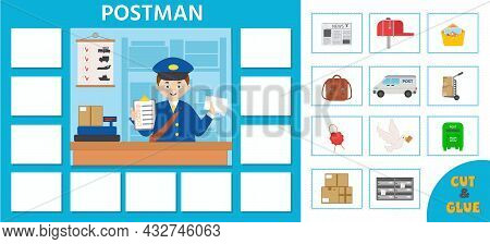 Profession Game For Kids. Cartoon Postman. Paper Card. Printable Worksheet. Vector Illustration