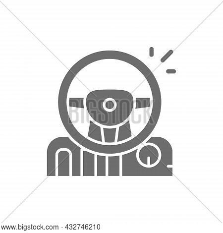 Game Steering Wheel With Pedals And Gearbox Grey Icon.
