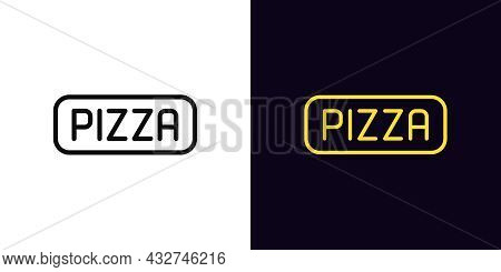 Outline Pizza Icon With Editable Stroke. Linear Pizza Sign, Signboard With Text. Food Court Logo For