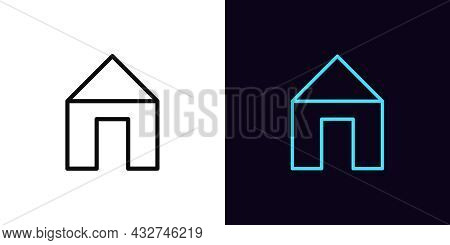 Outline Home Icon With Editable Stroke. Linear Home Sign, House Pictogram And Silhouette. Real Estat