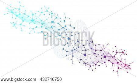 Colorful Molecules Background. Dna Helix, Dna Strand, Dna Test. Molecule Or Atom, Neurons. Abstract