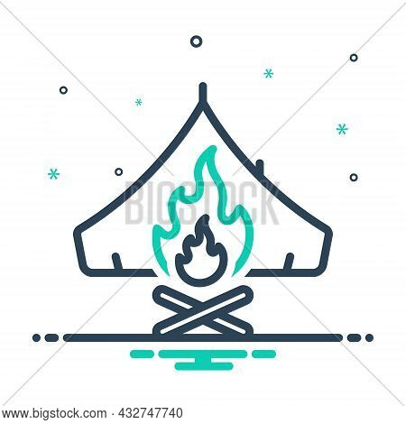 Mix Icon For Survival Campfire Bonfire Fire Flame Warmth Cottage Tent