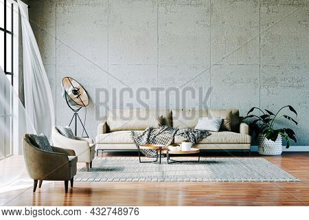 3d render of beautiful interior decor with sofa and floor plant