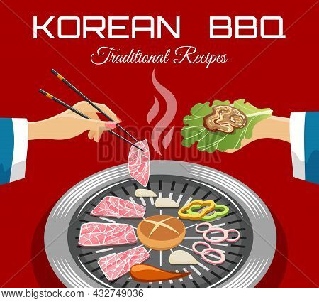 Korean Barbeque View. Korea Bbq Grill Self View, Hot Belly Beef Food, Hot Buffet With Roaster Raw Me