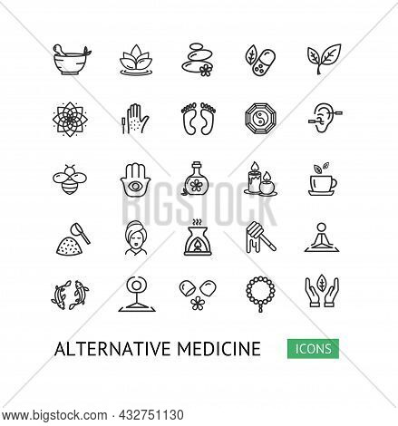 Alternative Medicine Sign Thin Line Icon Set Include Of Homeopathy, Acupuncture, Aromatherapy And Yo