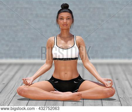 3d Illustration Of Virtual Woman In Yoga Easy Pose On A Clear Wood Floor And Blurry Background