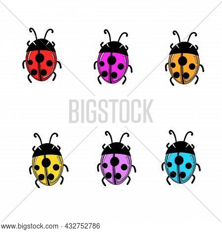Set Of Cartoon Ladybird Mascot. A Small Ladybugs Flying. Vector Characters. Incest Icon. Template De