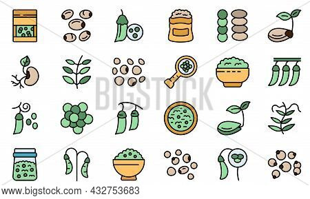Lentil Icon. Outline Lentil Vector Icon Thin Line Color Flat Isolated On White