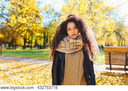 Attractive Afro-haired Woman Wearing Warm Scarf Walk In Autumn Park At Sunny Warm Day. Portrait Of H