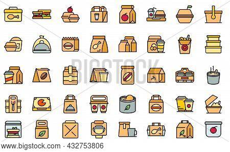 Take Away Food And Drinks Icon. Outline Take Away Food And Drinks Vector Icon Thin Line Color Flat I