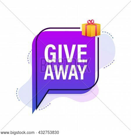 Modern Flat Style Template With Giveaway Megaphone For Banner Design. Social Media Like Icon Concept