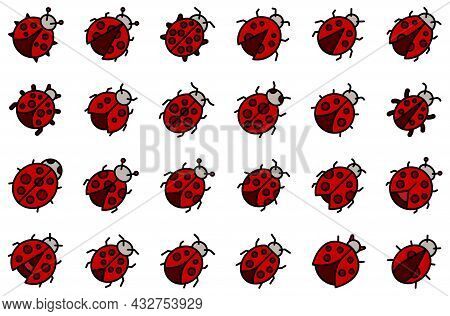 Insect Ladybird Icons Set. Outline Set Of Insect Ladybird Vector Icons Thin Line Color Flat Isolated