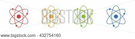 Atom Icons Set Isolated On White Background. Structure Of The Nucleus Of The Atom. Around The Atom,