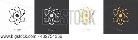 Atom Logos Set Isolated On White Background. Structure Of The Nucleus Of The Atom. Around The Atom,