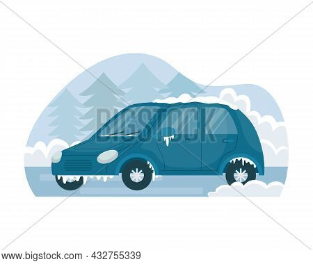 Vector Illustration Of A Car Frozen In Winter On The Street.