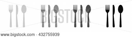 Cutlery Set Isolated On White Background. Fork, Knife And Tablespoon. Vector Illustration