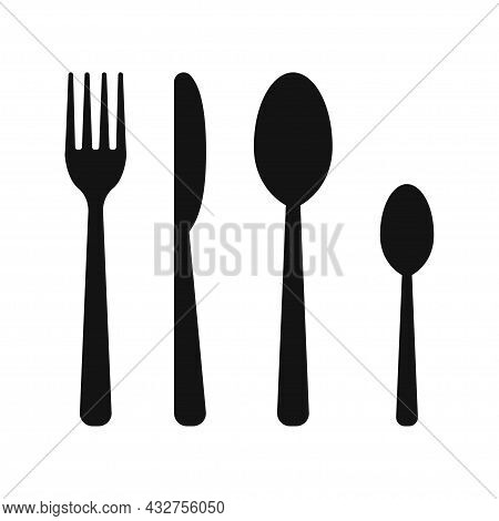 Cutlery Set Isolated On White Background. Fork, Knife, Tablespoon And Teaspoon. Vector Illustration