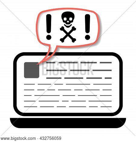 Laptop Warning Malware, Spam, Online Fraud, Trojan, Computer Ransomware Virus Icon