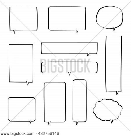 Collection Set Of Blank  Black And White Hand Drawing Speech Bubble Balloon, Think Speak Talk Text B