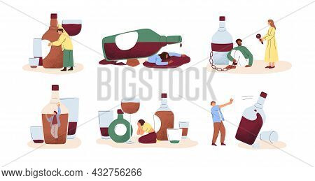 Alcohol Abuse And Addiction Concept. Set Of Drunk People With Bottles Of Alcoholic Drinks. Addicted