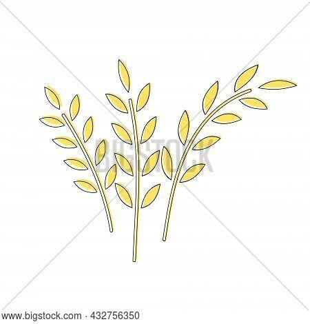 Vector Icons Spikelets Bunch Of Wheat, Flakes. Oatmeal Ear. Ruta Ears Icon Cartoon Style