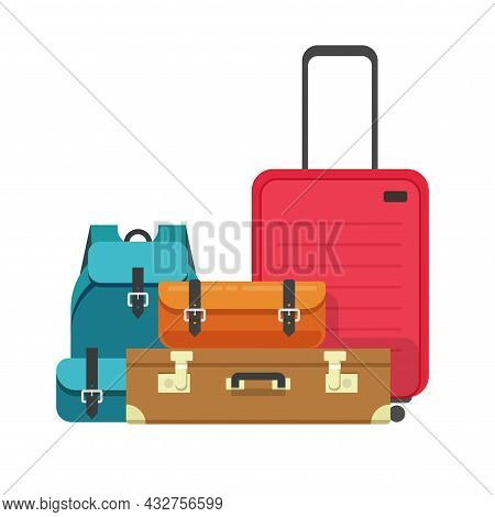 Travel Luggage Bags Heap Or Airport Baggage Suitcases Ready For Flight Tour Or Trip Vector Isolated
