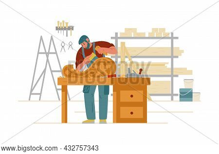 Craftsman Carpenter In Overall Carving On Wood In Workshop Interior. Artisan Flat Vector Character.