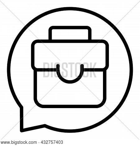 Chat Suitcase Icon Outline Vector. Work Job. Business Portfolio