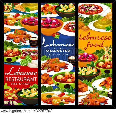 Lebanese Cuisine Food Vector Banners With Arab Vegetable, Meat And Dessert Dishes. Hummus, Dumpling