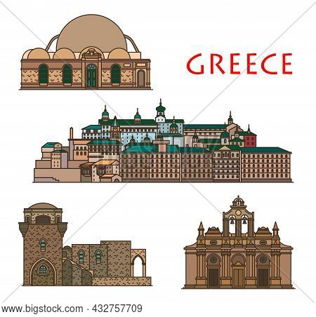 Greece Architecture, Church And Monastery On Crete And Rhodes, Vector Greek Antique Buildings. Saint