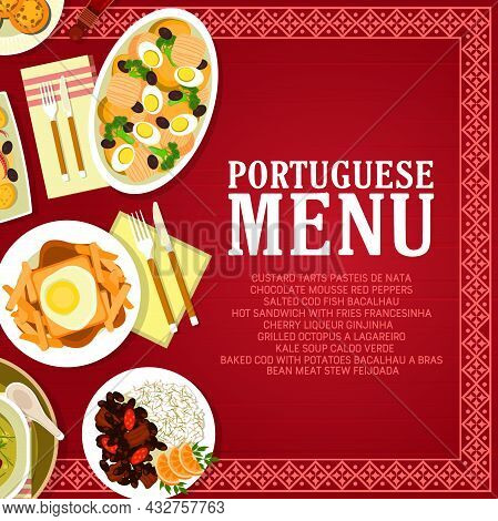 Portuguese Restaurant Menu Card Vector Template With Fish, Vegetable And Meat Food Dishes. Baked Cod