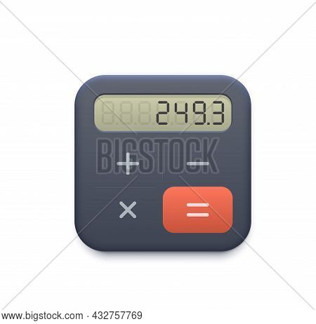 Business Calculator Web Icon With Display And Buttons. Accounting, Finance Or Business Mobile Phone