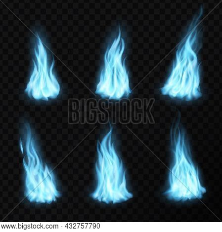 Gas And Realistic Blue Fire Flames, Light Energy Blaze Vector Icons. Blue Gas Or Fire Flames With Gl