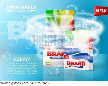 Washing Powder Packaging With Soap Bubbles And Water Whirl. Washing Detergent Paper Bop And Plastic