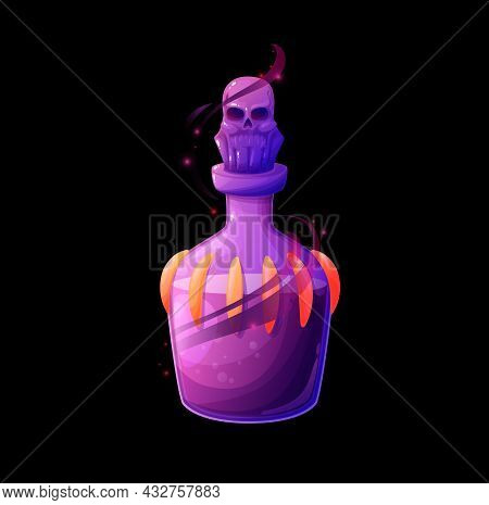 Potion Bottle With Death Elixir, Vector Magic Glass Flask With Purple Liquid, Shining Haze Or Sparks