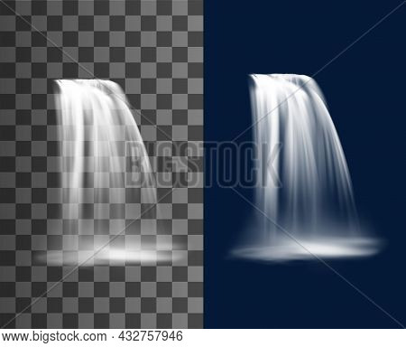 Waterfall Cascade, Realistic Water Fall Stream, Vector Pure Falling Jet With Fog. Fountain Cascading