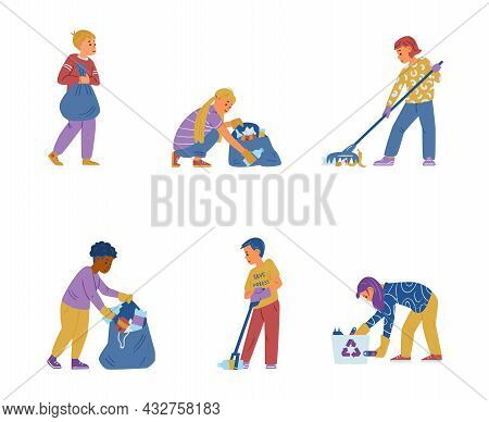 Vector Set Of Children Volunteers Cleaning A Street. Collecting Trash, Sorting Waste. Isolated On Wh