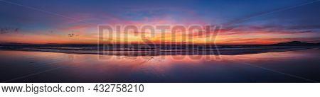 Panorama Sunset Ocean Beach Of Spain City Tarifa Andalusia. Atlantic Ocean Waves Background Bright M