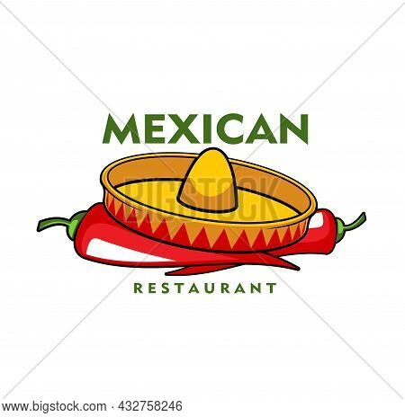 Mexican Restaurant Icon, Vector Jalapeno Chili Peppers And Sombrero Hat. Cartoon Emblem With Traditi