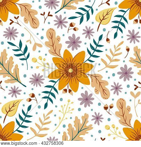 Sunflower Autumn Seamless Pattern On White. Floral Pattern With Fall Leaves And Colorful Flowers. Th