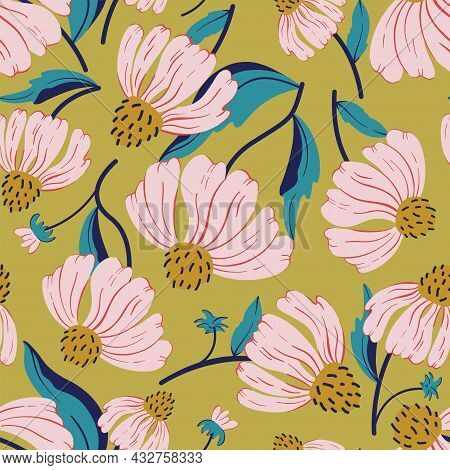 Floral Seamless Vector Pattern With Pink Wildflower On Green Background. Pink Florals Pattern For Te
