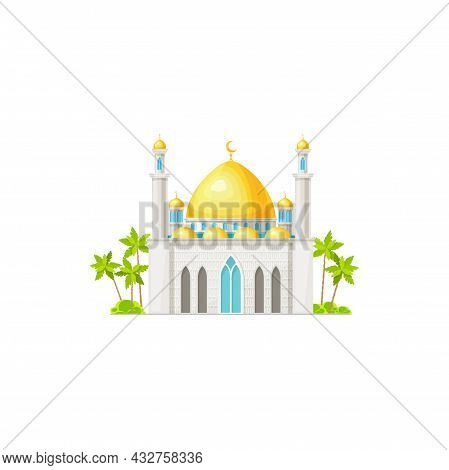 Mosque Icon, Muslim And Islam Religion Building Architecture, Vector. Arabian Or Egyptian Islamic Mo