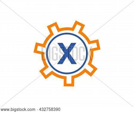 Gear Logo On Letter X. Initial X Gear Letter Logo Design Template. X Gear Engineer Logo