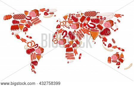 Meat, Beef And Pork Sausages Vector World Map Of Meat Food. Raw Chicken And Turkey Sausages, Ham, Ba