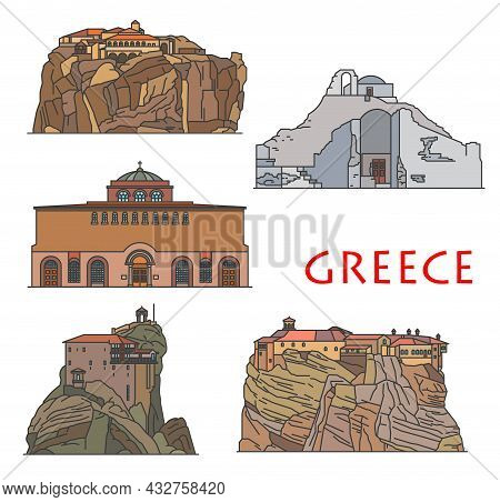 Greece Architecture Temples And Churches, Antique Greek Buildings, Vector. Greece Travel Landmarks G