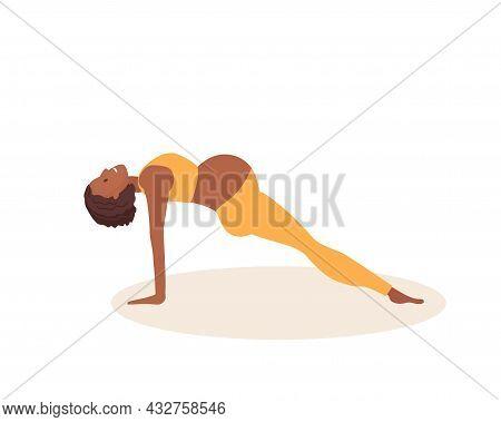 Upward Plank Pose. Pregnant African American Woman Doing Yoga. Woman In Sportswear Doing Floor Exerc